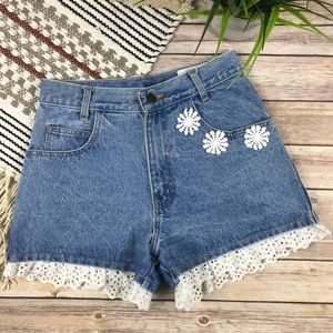 Vintage High Waisted Lace Mom Jean Shorts